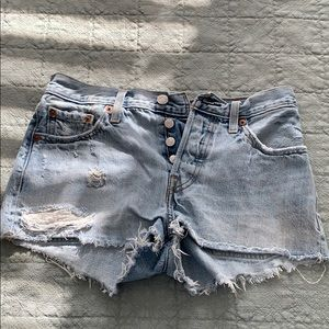 Levi's Mid Rise 501 Jean Cutoff Shorts